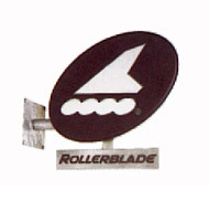Rollerblade sign in galvanized-metal